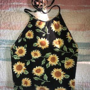 cropped sunflower halter top